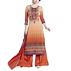 Applecreation Dark orange Self Designer Embroidred Dress Material With Matching Dupatta for Women's
