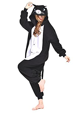 **SALE PRICE FROM £19.99** UK SELLER ** OFFICIAL CLUBCORSETS ANIMAL PYJAMA ONESIE- FLUFFY FUN! IDEAL UNISEX XMAS PRESSIE ALL SIZES S, M, L, XL (L 170-180 CM ( HEIGHT 5'6~5'10 ), BLACK N WHITE CAT)