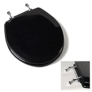 Deluxe Black Wood Round Toilet Seat Chrome Hinges