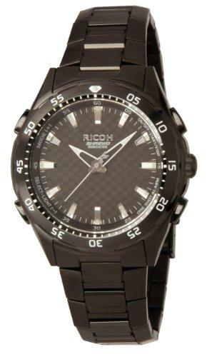 Ricoh Men'S Watch Shrewd Reminder Inductive Charge Analogue Vibration Alarm Chronograph Led Blackblack 660002-91