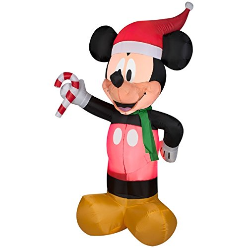 Gemmy Disney 5Ft Christmas Airblown Inflatable Mickey Mouse Holding Candy Cane With Led Lights front-924667