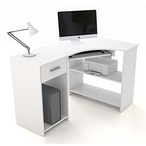 schreibtisch eckschreibtisch pc tisch silvia in wei mit tastaturauszug und schublade 117x74x78. Black Bedroom Furniture Sets. Home Design Ideas