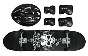 Black Skull Design Youth Skateboard Combo Pack with Board, Helmet, Knee and Elbow... by TaoTao Manufacturer