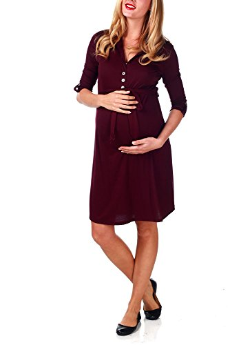 Pinkblush Maternity Burgundy Button Sash Maternity Dress, Large front-598265