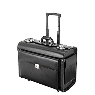 Alassio - 92301 SILVANA - trolley pilot case, wheeled, imitation leather, black by JUSCHA GmbH