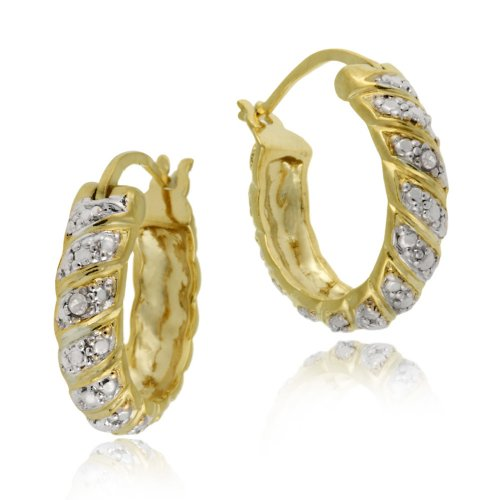 18k Yellow Gold Plated Sterling Silver Diamond-Accent Hoop Earrings (0.7
