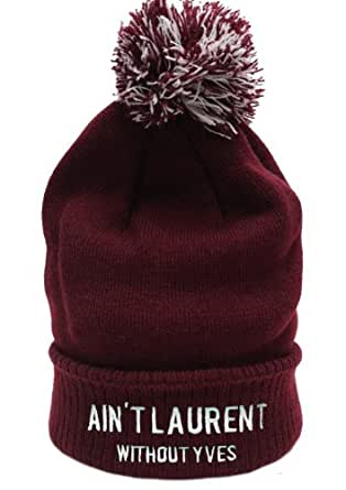 Aint Laurent Without YVES Beanie (Maroon Bobble)
