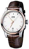 Oris Classic Miles Date Brown Leather Strap Mens Watch 733-7578-4351LS