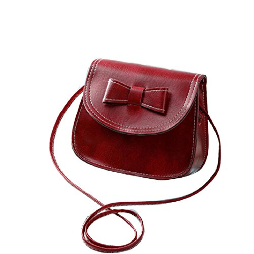 Kingko Donne bowknot Fashion borsetta di pelle singola spalla Messenger Bag Phone Bag Casual (Vino rosso)