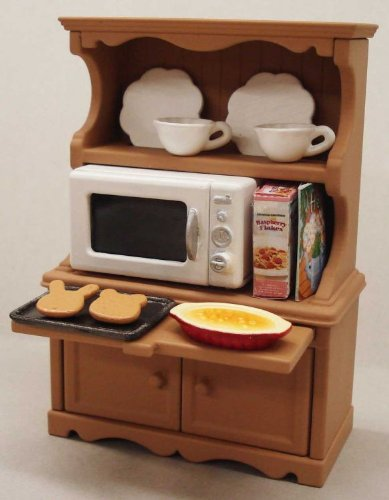 Epoch Sylvanian Families Ka-413 Calico Critters Kitchen Cabinet & Microwave Include Catworld Critters Set
