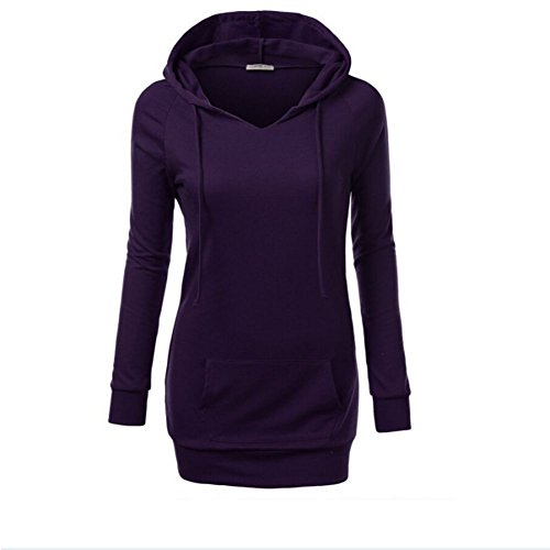 Hengzhi Women's Long Sleeve Funnel Neck Solo Color Cute Hoodies Pullover Tops