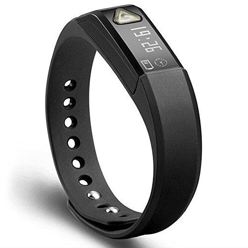 Juboury Universal Bluetooth Smart Activity Watch Wearable Fitness Tracker Bracelet Smart Wristbands with Pedometer Sleep Tracker (Dark-black)