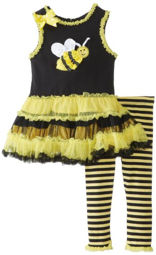 Rare Editions Baby Baby-Girls Infant Bee Applique Tutu Legging Set, Yellow/Black, 12 Months front-1006654