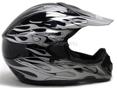 Tms Black Flame Dirt Bike Off-road Atv Motocross Helmet (Large)
