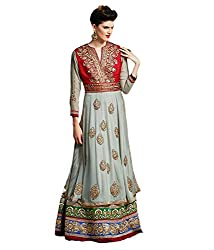 KANHEYAS Gray Georgette Unstitched Dress Material
