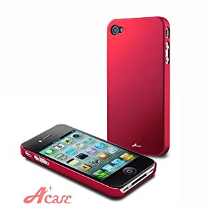 Acase(TM) Superleggera flamingo fit case for iPhone 4 with 2 Screen Protector (Red)