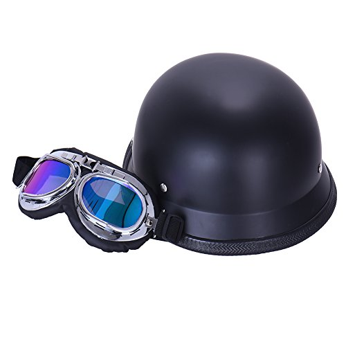 Vintage German Style Half Open Face Motorcycle Helmet With Goggles Glasses for Men Women 4