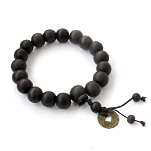 Ovalbuy 11mm Wood Beads Buddhist Prayer Wrist Mala Bracelet