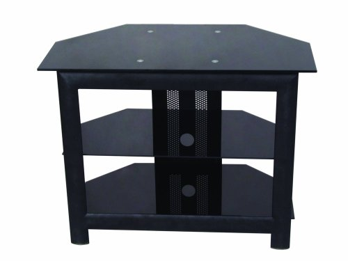 Home Source Industries TV418 Modern TV Stand with Shelving for Components, Black picture