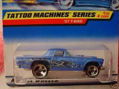 Mattel Hot Wheels 1998 1:64 Scale Tattoo Machines Series Blue 1957 T Bird Die Cast Car 1/4 - 1
