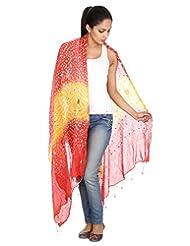 Rajrang Women's Wear Cotton Tie Dye Yellow Long Scarf Stole Dupatta