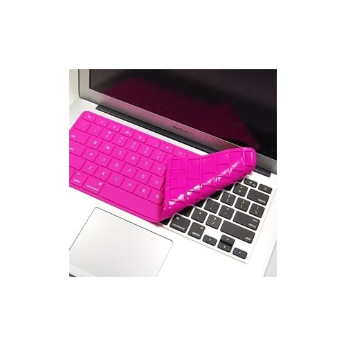 Cosmos ® Hot pink Solid Pure Silicone Keyboard cover skin for Macbook air 11 11.6 A1370 with Cosmos Fastening Strap