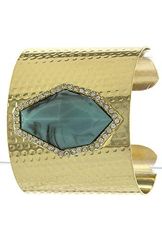 Trendy Fashion Jewelry Faux Angular Gem Accent Cuff By Fashion Destination | (Gold)