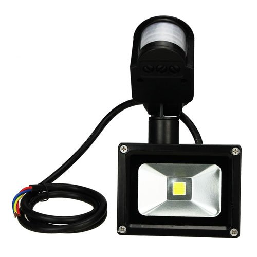 Muchbuy Pure White Waterproof 10W 1000Lm Led Floodlight Infrared Ray Induction Lamp Light