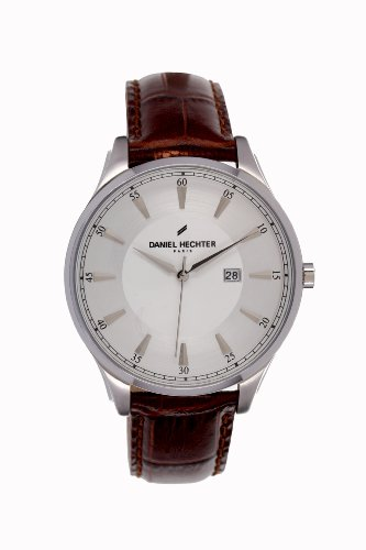 Daniel Hechter-FU/019 DHH Men's Watch Analogue Quartz Silver Dial Brown Leather Strap