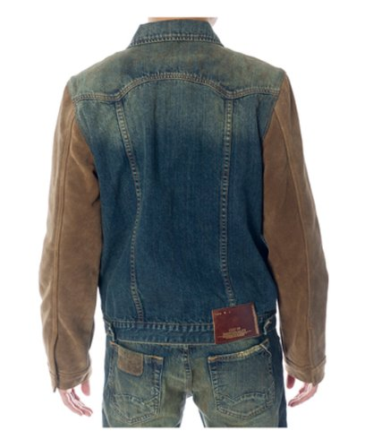 Cult Of Individuality Men's Dark Tan Cotton Denim Jacket with Genuine Leather in Red Tide, L (Red Cult Jeans compare prices)