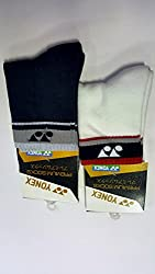 Pioneer Yonex Cushioned Ankle Socks- Sis 2152A (Pack Of 2) White-Grey-Blk/ Blk-L.Gry-D.Gry