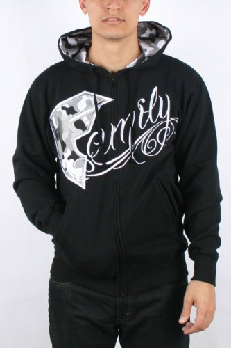 Famous Stars and Straps - Mens Animal Camo Zip Hoodie in Black, Size: Small, Color: Black