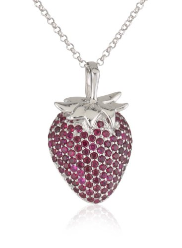 Giorgio Martello Sterling Silver Cubic-Zirconia Strawberry Necklace