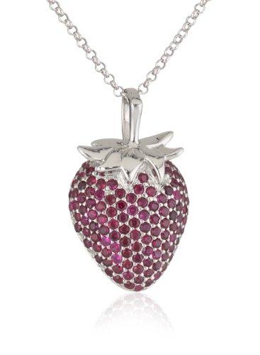 Giorgio Martello Sterling Silver Cubic-Zirconia Strawberry Necklace