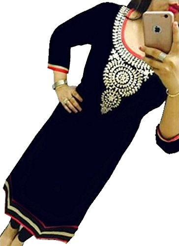 Selfie-style-Trendy-Black-color-Georgette-Embroidery-semi-stitched-kurti