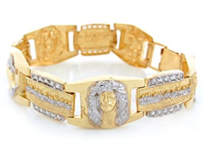 10k Two Tone Gold White CZ Jesus Praying Hands Last Supper Religious Bracelet