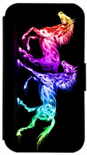 Flip Cover für Samsung Galaxy S6 G920 Design 555 Pferd Pferde Bunt Hülle aus Kunst-Leder Handytasche Etui Schutzhülle Case Wallet Buchflip Vorderseite Bedruckt mit Bild Rückseite Schwarz (555)