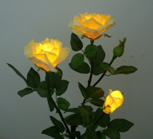 YMRgroup Solar Yellow Rose Flower Landscape LED Lights at Sears.com
