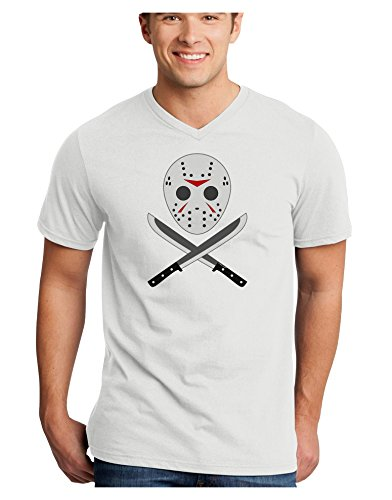 Scary Mask With Machete - Halloween Adult V-Neck T-shirt
