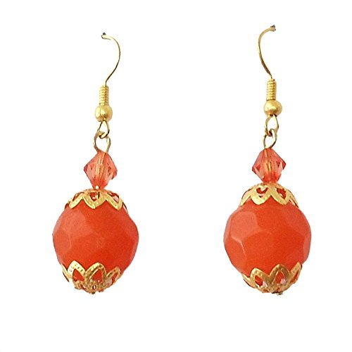 Beadworks Beadworks Glass Dangle & Drop Earring For Women -Orange & Gold (Multicolor)