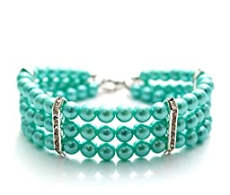 PETFAVORITES™ Couture Designer Fancy 3 Row Pearls Diamond Pet Cat Dog Necklace Collar Jewelry with Bling Rhinestones for Pets Cats Small Dogs Female Puppy Chihuahua Yorkies Girl Costume Outfits, Adjustable and Handmade (Blue, Neck Size: 12\