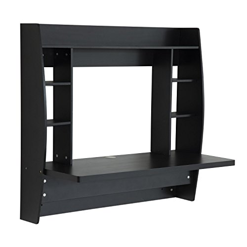 homcom floating wall mount office computer desk with