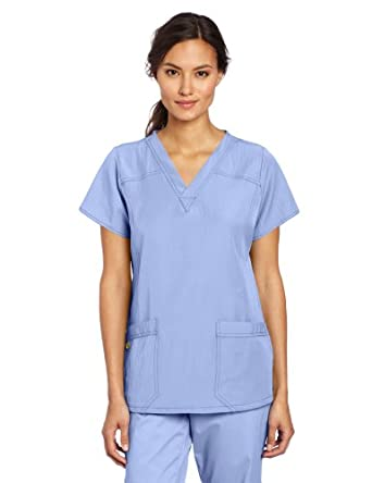 WonderWink Women's Scrubs Four Way Stretch Sporty V-Neck Top, Ceil Blue, X-Small