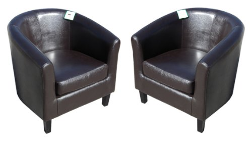 Brown Faux Leather Tub Chair Sofa Set of 2 Padded Solid Wood Armchairs