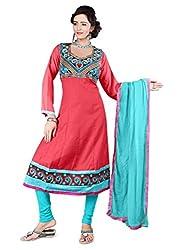 Shree Vardhman Synthetics Dark Gazri Semi Cotton Top Straight Unstiched Salwar Suit Dress Material