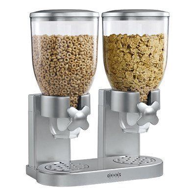ZEVRO Indispensable Dry Food Dispenser, Double Classic Silver