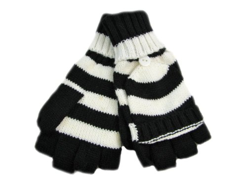 Ladies Stripey Shooter Mitts Available in  Black and White