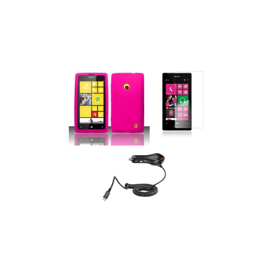 Nokia Lumia 521 / 520   Accessory Kit   Hot Pink Silicone Gel Cover + Atom LED Keychain Light + Screen Protector + Micro USB Car Charger