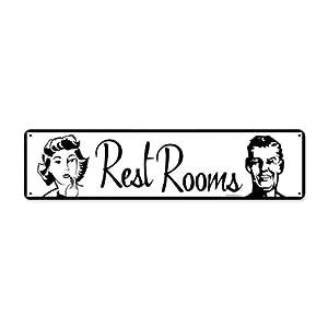 Restrooms Vintage Metal Sign Retro Bathroom