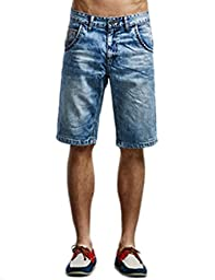 Liveinu Men\'s Acid Washed Denim Shorts Slim Fit Light Blue M